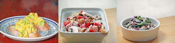 まるごとピューレコーンを加えたオムレツとドライパックの豆サラダ