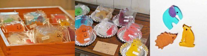 笹塚にある「シャララ舎」の様々な色、形の琥珀糖