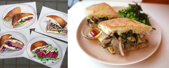 肉料理が評判の「トラットリア・ヴェンティノーヴェ」のサンドイッチのイラスト/モツサンド