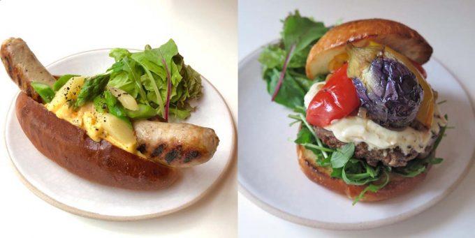 肉料理が評判の「トラットリア・ヴェンティノーヴェ」のホットドッグとハンバーガー