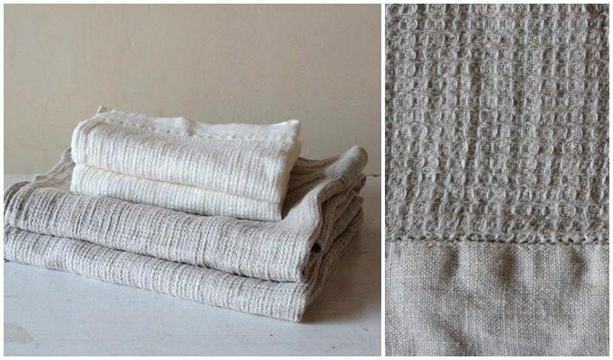 凹凸があるワッフル織りの生地のタオル