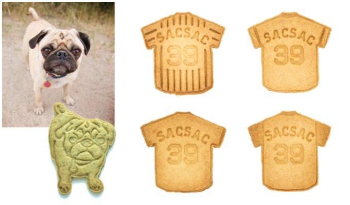 犬の写真とそれをかたどったクッキー/ユニフォーム型のクッキー