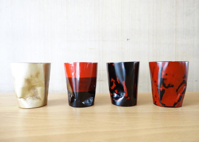 違うデザインの漆器4種類