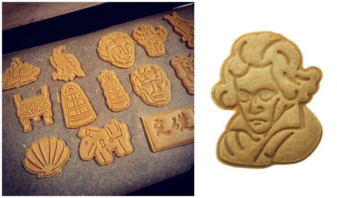 日本の歴史を表現したクッキーとベートーベンの似顔絵クッキー