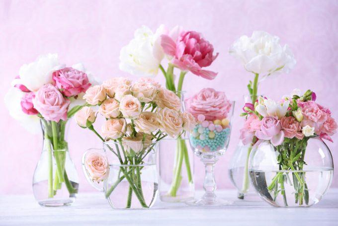 ピンクと白の春らしい花束
