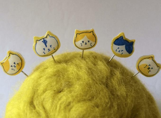 5匹の猫のまち針