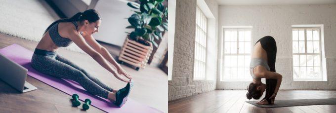 運動後の整理体操におすすめの前屈ストレッチをする女性