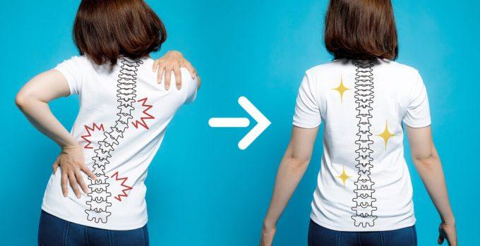 背中のストレッチで背骨がバランスよくなったイメージ