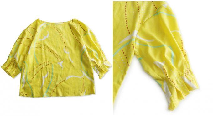 黄色が可愛らしい「カモメプリントランダム袖タックブラウス」