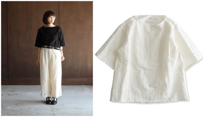 春夏コーデにおすすめのシャツ、Tシャツのようなシルエットの白シャツとその白シャツのコーディネート例
