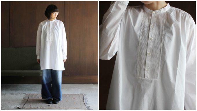 春夏コーデにおすすめのシャツ、エスニックな雰囲気の白シャツとその白シャツのコーディネート例