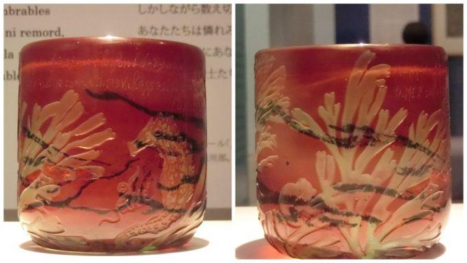 ガレの作品「海藻と海馬文花器」