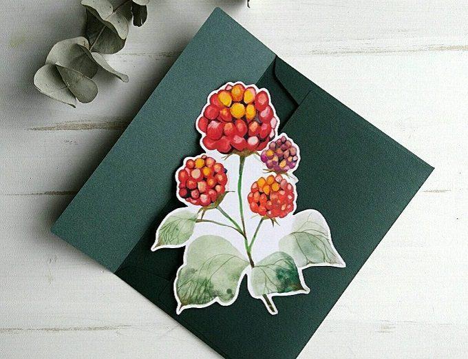 「シロヤギ紙企画」のキイチゴのメッセージカード