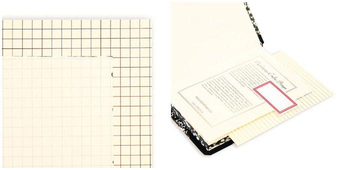 新生活におすすめのノート、「エミリオ・ブラガ」のマーブル模様が美しいノートの生成色の紙と付属の下敷き