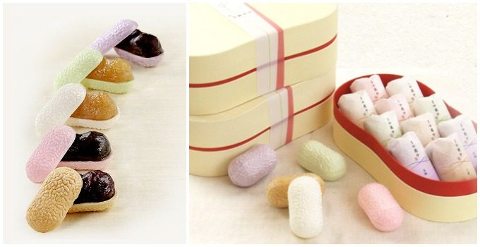 手土産におすすめの最中、和菓子を製造、販売する「蜂の家」の最中とその最中が化粧箱に入った様子