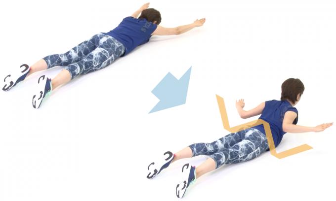 背中とお尻を鍛えるエクササイズ「バックエクステンションW」の手順