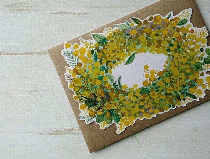 「シロヤギ紙企画」のミモザのメッセージカード