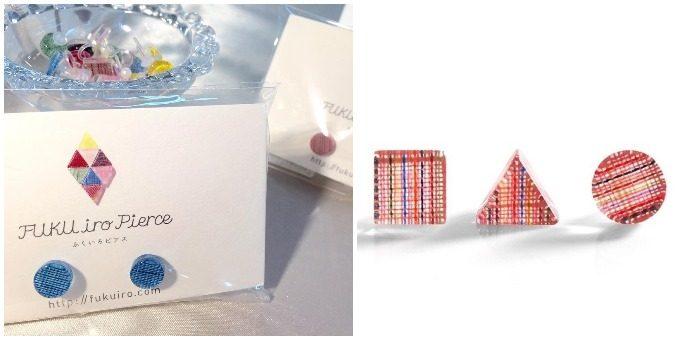 福島の伝統工芸品を使って制作されている、3タイプの色と形がある「ふくいろピアス」
