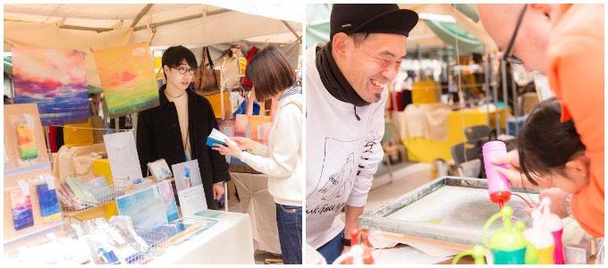 二子玉川で開催されたイベントのクラフト作品販売ブースとワークショップのブース