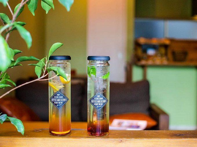 期間限定のドリンクやスコーンが楽しめる長崎のカフェ「DRIC(ドリック)」のおしゃれなガラスボトルに入ったティーソーダ