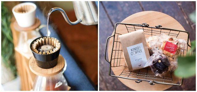 期間限定のドリンクやスコーンが楽しめる長崎のカフェ「DRIC(ドリック)」のコーヒー豆でコーヒーを淹れる様子とかごに入ったコーヒー豆、スコーン