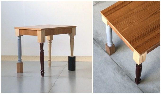 4本のデザインや材質が異なる脚が特徴の「STOOL 02」