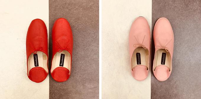 革のインテリアシューズブランド「Proximite(プロキシミテ)」のケチャップ色、ピンク色のルームシューズ