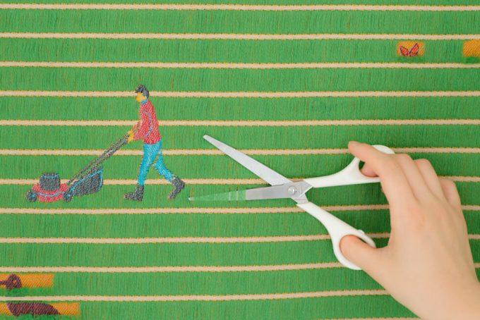テキスタイルブランド「YURI HIMURO」の芝生がモチーフのテキスタイル