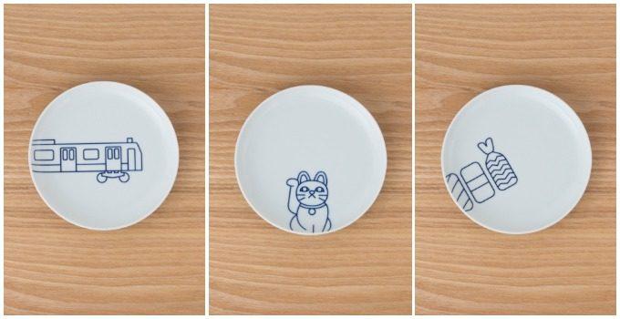 陶磁器をプロデュース、販売する「KIHARA」の東京の魅力を表したプレートの3種類の絵柄