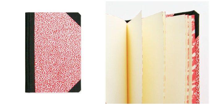 新生活におすすめのノート、「エミリオ・ブラガ」のマーブル模様が美しい赤色のノートとそのノートの側面