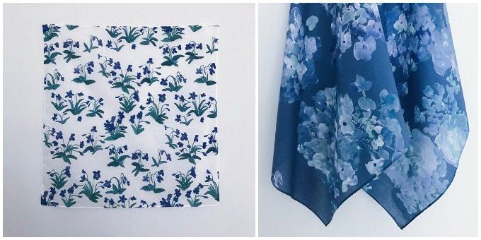 テキスタイルブランドotsukiyumiのお花模様のハンカチ