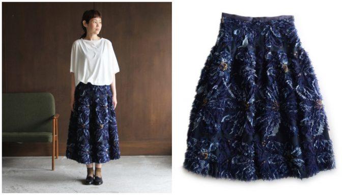 yuni ユニの大輪の花フェザージャガードタックスカート