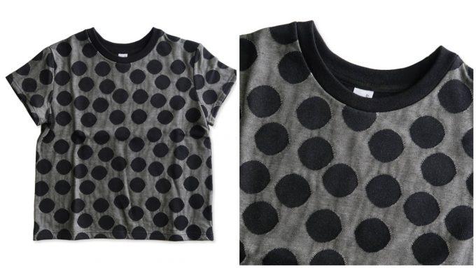 エボニーアイボリーのランダムドットジャガードボックスTシャツ