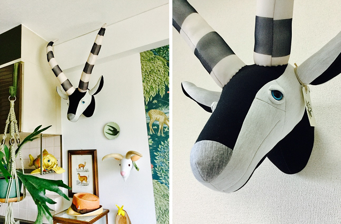 Hande und Stitch(ハンドウンドステッチ)のアニマルトロフィーを飾った壁2