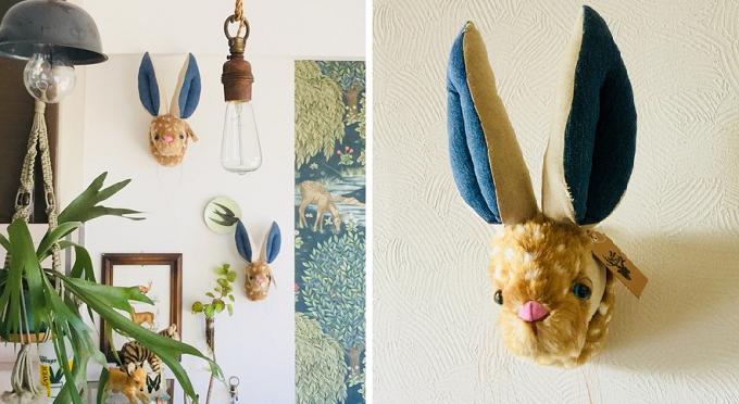 Hande und Stitch(ハンドウンドステッチ)のアニマルトロフィーを飾った壁3