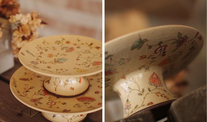 増山文さんの花柄のコンポート皿