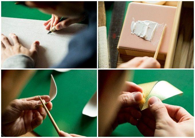 「かぐわし」が伝統工芸の山鹿灯籠の技法で作られる様子