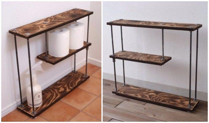 おしゃれなイレットペーパーホルダー「wood iron shelf」
