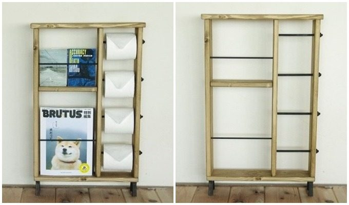 本棚付きのトイレットペーパーホルダー「トイレ図書館」