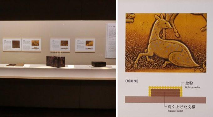 「はじめての古美術鑑賞 ー漆の装飾と技法ー」展示と蒔絵技法パネル