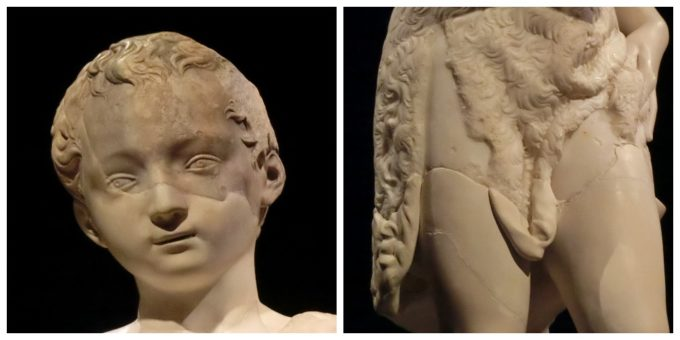 東京のおすすめ展覧会「ミケランジェロと理想の身体」で展示される《若き洗礼者ヨハネ》のスペイン内戦の影響が色濃く残る部分