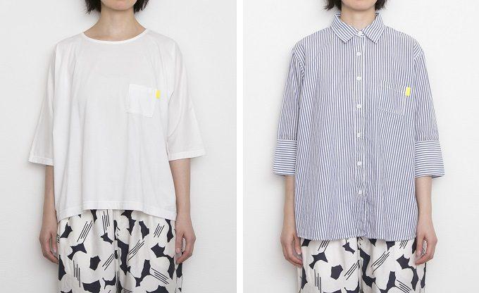 Nells<ネルズ>の身幅ゆったり、5分袖のTシャツとシャツ