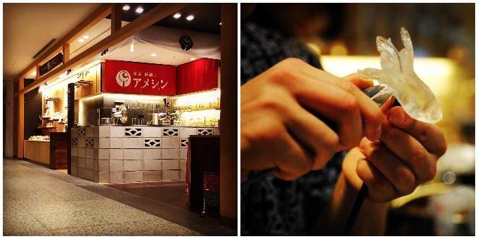 浅草・飴細工アメシンの店舗写真と制作の様子