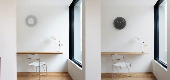盤面の色が時間とともに変化するDUSKの壁掛け時計
