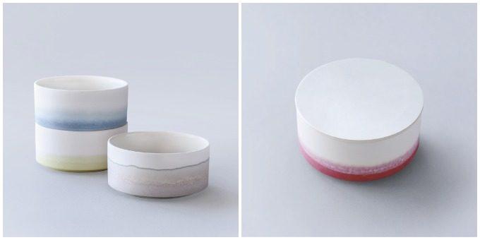 草木染めで色を施した「KUSAKI」の陶磁器、スタッキングできる器