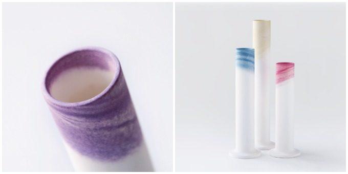 草木染めで色を施した「KUSAKI」の陶磁器、フラワーベース