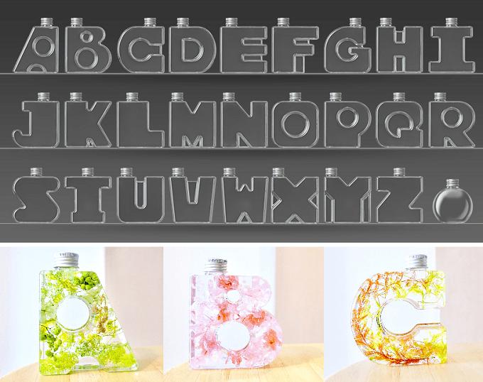 プレゼントにおすすめNAMEW<ネイミュー>のアルファベット型ハーバリウムのボトル