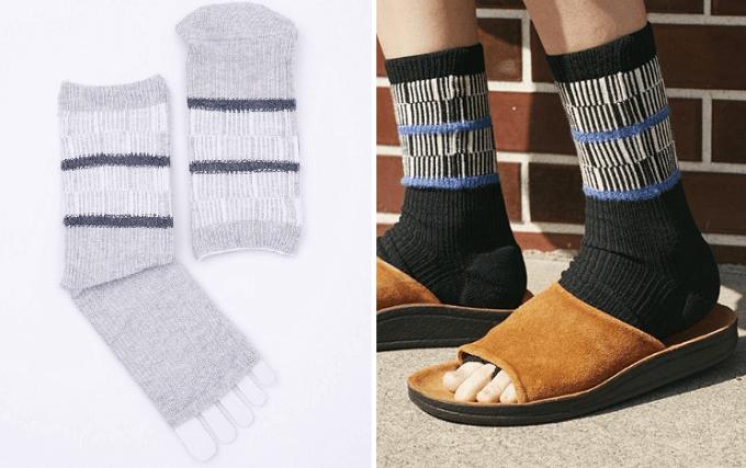 メンズライクなサンダルにもおすすめ、靴下ブランドRIRILAのオープントゥソックス