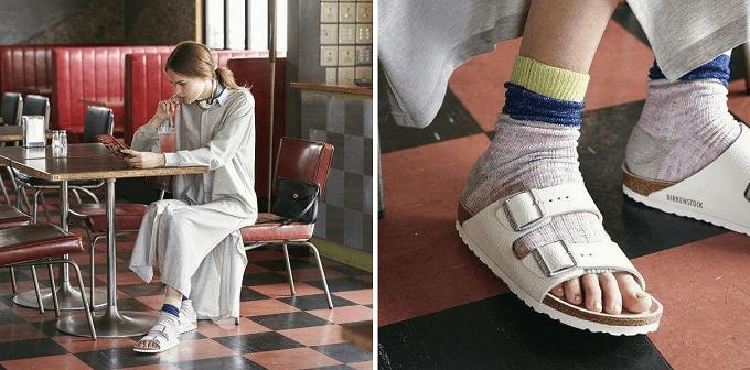 夏のサンダルにおすすめ、靴下ブランドRIRILAのオープントゥソックスコーディネート例