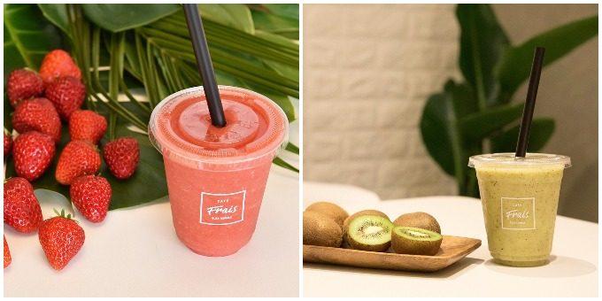 フルーツ専門店CAFE FRAIS<カフェフレイス>のイチゴ・キウイのスムージー